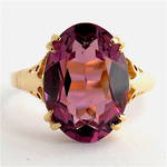 9ct yellow gold oval amethyst ring