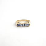 9ct yellow gold ceylon 4 stone sapphire and diamond ring