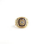 Men's 14ct yellow gold diamond and ruby set signet ring