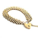 9ct rose gold antique engraved heart padlock bracelet