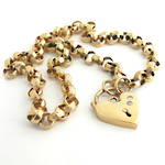 9ct rose gold vintage engraved belcher link necklace with an early cut diamond set heart padlock
