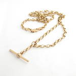 9ct rose gold belcher link chain with hanging fob pendant