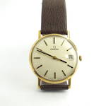 Men's 9ct yellow gold Omega De Ville watch with leather strap