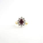 18ct yellow & white gold ruby and diamond cluster ring