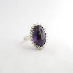 14ct white gold amethyst and diamond cluster ring