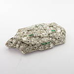 Art deco platinum multi diamond set and emerald brooch/pendant