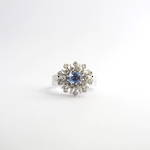 18ct white gold ceylon sapphire and diamond cluster ring
