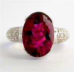 14ct white gold rubellite and diamond ring