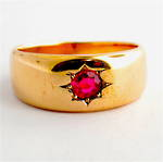 9ct rose gold antique synthetic ruby ring
