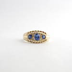 9ct yellow gold three stone ceylon sapphire and diamond ring