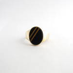 Men's 9ct yellow gold onyx/tigers eye dress ring