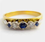 18ct yellow gold ceylon sapphire and diamond ring