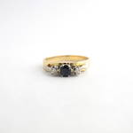 18ct yellow & white gold sapphire and diamond 3 stone ring