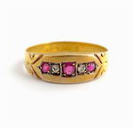 15ct yellow gold antique ruby and diamond ring