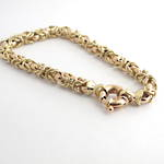 9ct yellow and rose gold fancy belcher link bracelet
