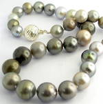 Graduated South Sea black cultured pearl necklace