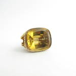 15ct yellow gold antique engraved citrine seal/pendant