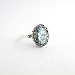 Brand new Sterling silver blue topaz and marcasite dress ring