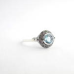 Brand new Sterling silver round blue topaz dress ring
