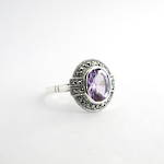 Brand new Sterling silver oval amethyst and marcasite ring