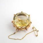 15ct yellow gold vintage citrine brooch