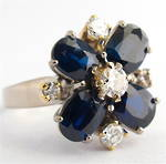 18ct white and yellow gold sapphire and diamond cluster ring