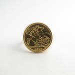 22ct half sovereign coin ring set in 14ct yellow gold