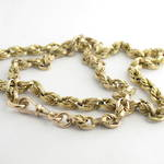 9ct yellow gold antique cable/rope link chain