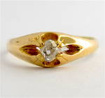 18ct yellow gold antique diamond solitaire ring