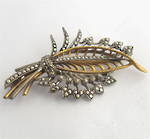 Vintage 9ct yellow gold/sterling silver marcasite set brooch