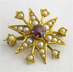 9ct yellow gold antique garnet and pearl star brooch