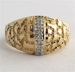 14ct yellow gold dome style diamond dress ring