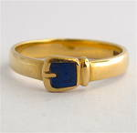 9ct yellow gold British Hallmarked buckle style lapis dress ring