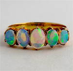 15ct-18ct rose gold 5 stone opal ring