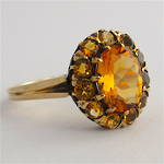 9ct yellow gold vintage citrine cluster ring
