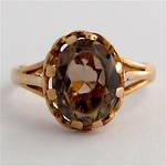 9ct yellow gold vintage smokey quartz ring