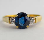 18ct yellow and white gold natural blue sapphire and diamond ring
