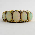 9ct yellow gold vintage opal and diamond ring