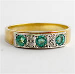 9ct yellow and white gold vintage natural emerald and diamond set ring