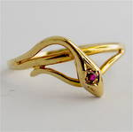 9ct yellow gold 'Snake' style natural ruby dress ring