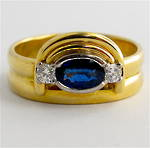 18ct yellow gold ceylonese sapphire/diamond set ring