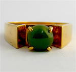 9ct yellow gold Lady's greenstone dress ring