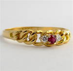 18ct yellow gold vintage ruby and diamond ring