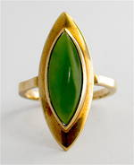 9ct yellow gold vintage marquise cut greenstone ring