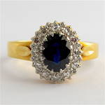 18ct yellow/white gold and platinum sapphire and diamond cluster ring