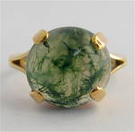 9ct yellow gold moss agate ring