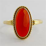 14ct yellow gold carnelian ring