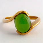 9ct yellow gold greenstone ring