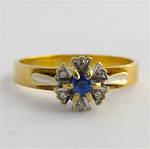 9ct yellow & white gold sapphire and diamond ring