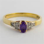 9ct Gold Amethyst/diamond Ring